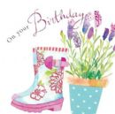 "BIRTHDAY CARD ""GLITTER WELLIES DESIGN"" LARGE SQUARE SIZE 6.25"" x 6.25"" II0627"